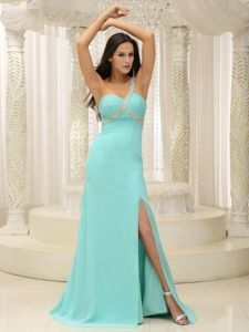 Beaded One Shoulder Ruched Graduation Dresses with High Slit