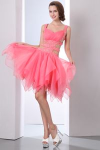 Asymmetrical Beading Watermelon Ruched Cute Graduation Dress