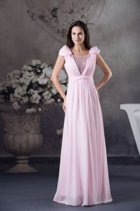 Ruching Beaded Pink Chiffon Graduation Dress with Cap Sleeves