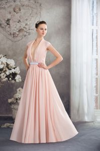 Baby Pink V-neck Ruched Pleating Silver Sash Graduation Dress