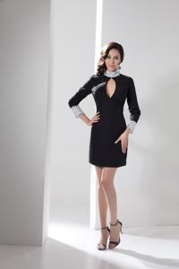 High Neck Beaded Cutout Black Graduation Dress with Long Sleeves