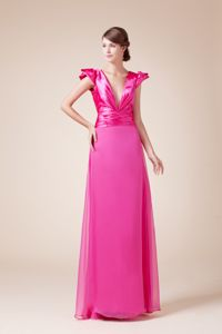 V-neck Hot Pink Ruched New Graduation Dresses with Cap Sleeves