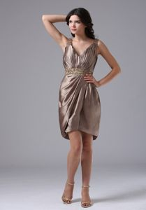 V-neck Beaded Column College Graduation Dresses in Brown