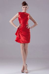 Ruching Mini-length Bateau College Graduation Dresses in Red
