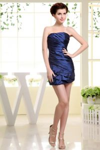 Strapless Ruched Column 5th Grade Graduation Dresses in Navy Blue