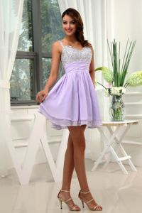 Beading Straps Mini-length A-Line Lilac Junior Graduation Dresses