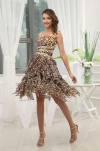 Leopard One Shoulder Beaded Ruffled Layers Prom Dress For Graduation