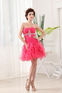 Hot Pink Graduation Dresses with Ruffled Layers and Beading