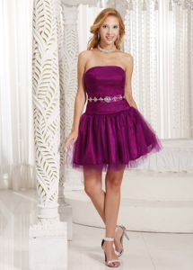 Strapless Purple A-line Cheap Graduation Dresses with Beading
