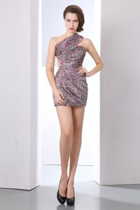 Waist Cutout One Shoulder Mini-length Leopard Graduation Dress