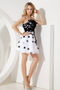 White and Black Junior Graduation Dresses Short A-line Straps