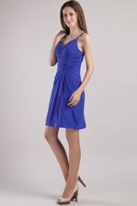 Blue Ruching Straps Mini-length Graduation Dresses For College