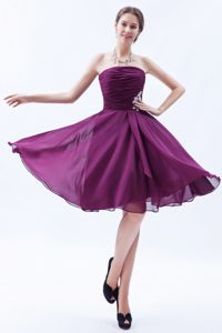 Dark Purple Grad Dress A-line Strapless Appliques Knee-length
