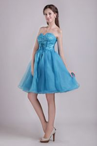Turquoise Sweetheart Beading Cute Graduation Dresses with Sash