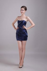 Column Strapless Mini-length Graduation Dress in Navy Blue with Beading