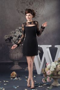 Black Chiffon and Lace Graduation Dress with Long Sleeves