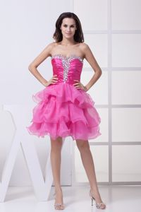 Hot Pink Beading Ruffled Layers Graduation Dresses with Knee-length