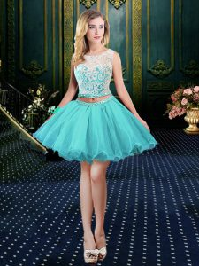 Discount Scoop Clasp Handle Mini Length Aqua Blue Graduation Dresses Organza Sleeveless Lace