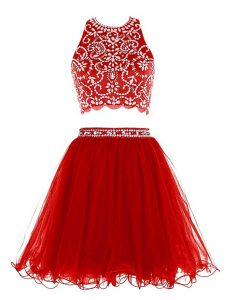 Red Clasp Handle Scoop Beading Graduation Dresses Chiffon Sleeveless