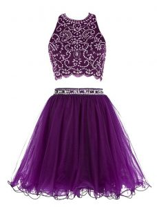 Fashion Purple Chiffon Clasp Handle Scoop Sleeveless Mini Length Graduation Dresses Beading