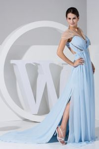 High Slit for Light Blue Graduation Dress Decorated Ruching and V-neck