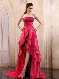 High-low Eighth Grade Graduation Dresses with Sequin in Coral Red