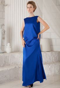 V Neck Back for Blue Bateau Loose Eighth Grade Graduation Dresses
