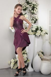 Asymmetrical Hem Burgundy Graduation Dresses for Wholesale