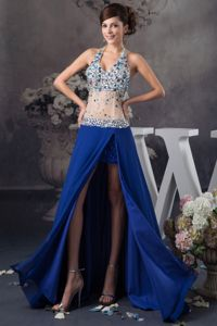 Halter Rhinestones Slitted Blue Graduation Dress with Sheer Waist