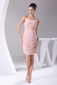 Ruched Short Pink College Graduation Dress Beaded Cap Sleeves