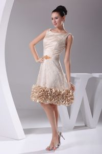 Scoop Gray Graduation Dresses in Champagne with Ruffled Hem
