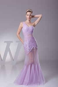 Sheer Mermaid Lavender College Graduation Dress One Shoulder