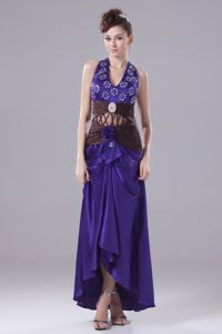 Pretty Halter High-low Purple Graduation Dress for High School