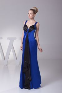 2013 Popular Blue and Black Long Graduation Dress with Straps