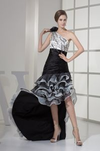 High-low Ruffled Beaded Black and White Dress for Graduation