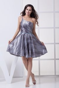 One Shoulder Knee-length Printing Graduation Dress for Grade 8