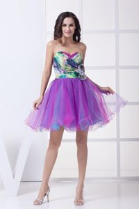 New Printing Colorful Puffy Mini Middle School Graduation Dress