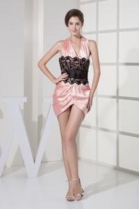 Taffeta Lace Halter Top Mini Graduation Dress in Pink and Black