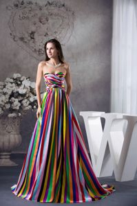 Colorful Lace-up Long Graduation Dress for Seniors with Stripe