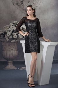 Scoop Neck 3/4-length Sleeves Lace Graduation Dresses in Black