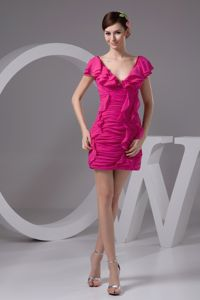 V-neck Ruched Ruffled Mini Hot Pink 8th Grade Graduation Dress