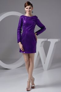 Sequin Bateau Long Sleeves Eggplant Purple Graduation Dresses
