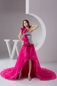 One Shoulder Hi-lo Formal Graduation Dress in Siver and Hot Pink