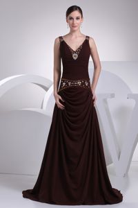 V-neck Brown Beaded Brush College Grad Dresses with Crisscross
