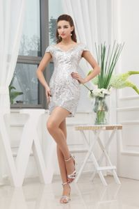 V-neck Cap Sleeves Short Cheap Graduation Dress in White Sequin