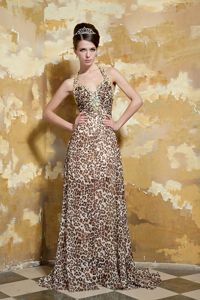 Halter Leopard Brush Beaded Graduation Dresses with Cross Back