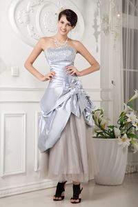 Strapless Beaded Silver Graduation Dress with Flower and Pick-ups