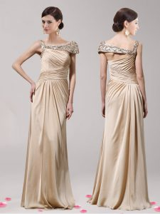 Excellent Floor Length Champagne Graduation Dresses Asymmetric Sleeveless Side Zipper