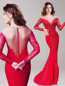 Mermaid Scoop Lace Graduation Dresses Red Clasp Handle Long Sleeves With Brush Train