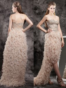 Wonderful Champagne Tulle Zipper Sweetheart Sleeveless High Low Graduation Dresses Appliques and Ruffles